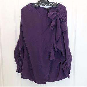 BCBG MAXAZRIA Silk Purple Blouse Size L